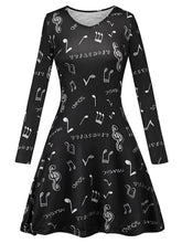 Load image into Gallery viewer, V Neck Music Note Print Long Sleeved Black Women Swing Dress 3405