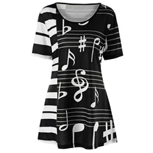 Load image into Gallery viewer, Musical Note Print Crew Neck Short Sleeve Tunic Top Women Tees 8992