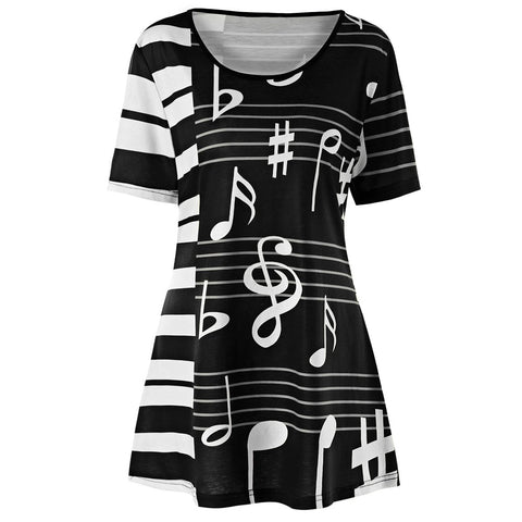 Musical Note Print Crew Neck Short Sleeve Tunic Top Women Tees 8992