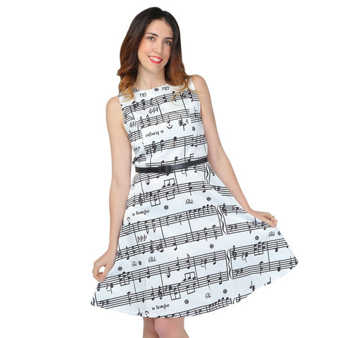 Music Note Print Swing Sleeveless Belted Women Dress 9189