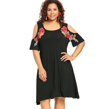 Load image into Gallery viewer, Embroidery Floral Applique Cold Shoulder Women Tee Dress 8163