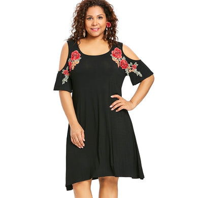 Embroidery Floral Applique Cold Shoulder Women Tee Dress 8163