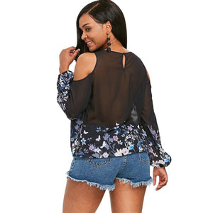 Blossom Floral Printed Cut Out Shoulder Lace Long Sleeved Blouse 1002