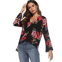 Load image into Gallery viewer, Plunge Neck Floral Print Bell Sleeve Chiffon Women Blouse 9974