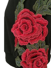 Load image into Gallery viewer, Round Neck Flower Patched Women Long Sleeve Sweatshirt Crop Top 2236