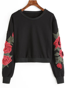 Round Neck Flower Patched Women Long Sleeve Sweatshirt Crop Top 2236