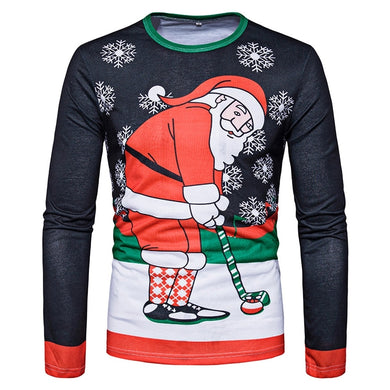 Round Neck Santa Print Ugly Christmas Long Sleeve T-shirt 1137