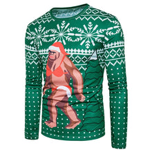 Load image into Gallery viewer, Round Neck Christmas Snowflake Santa Claus Print Ugly Men T Shirt 7411