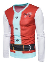Load image into Gallery viewer, V Neck Long Sleeve Santa Print Christmas Costume Ugly T-shirt 3895