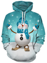 Load image into Gallery viewer, Christmas Costumes Snowman and Snowflake Print 3D Pullover Hoodie for Men 4195