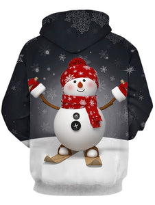 Christmas Costumes Snowman and Snowflake Print 3D Pullover Hoodie for Men 4195