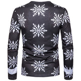 V Neck Cotton Snowflake and Santa Print Ugly Christmas Tee for Man 2033