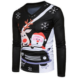 V Neck Cartoon Deer Santa Print Ugly Christmas T Shirt for Men 2051
