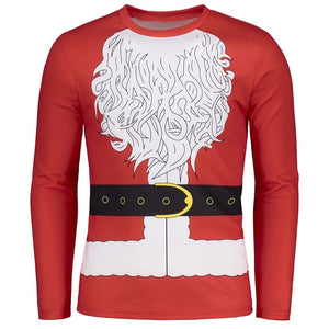 Round Neck Santa Clause Christmas Costume Red Long Sleeve Men T-shirt 6894
