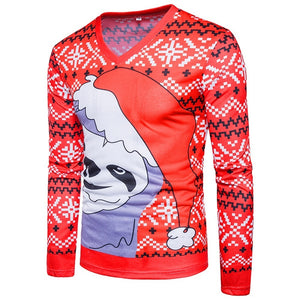V Neck Christmas Costumes Snowflake Print Ugly Cartoon T-shirt 5246