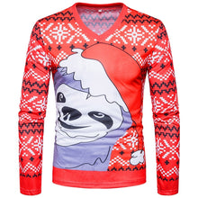 Load image into Gallery viewer, V Neck Christmas Costumes Snowflake Print Ugly Cartoon T-shirt 5246