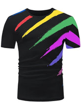 Load image into Gallery viewer, Color Block Paint Print Men Short Sleeve T-shirt 6490