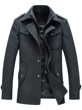 Load image into Gallery viewer, Turn-down Collar Epaulet Design Wool Blend Faux Twinset Jacket 6287