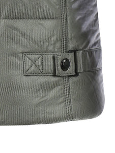 Stand Collar Pocket Design Zippered Buckled Padded Jacket 1580