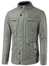 Load image into Gallery viewer, Stand Collar Pocket Design Zippered Buckled Padded Jacket 1580
