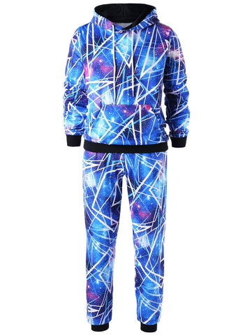 Galaxy Print Men Hoodie and Jogger Pants 2pcs 6264