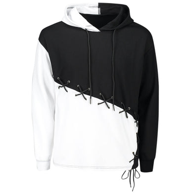 Color Block Criss Cross Drawstring Lace Up Men Hoodie 3230