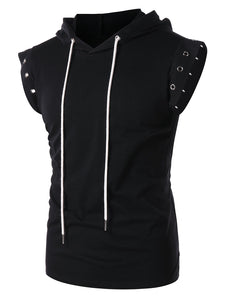 Lace Up Drawstring Round Hole Decorated Sleeveless Men Hoodie 9736