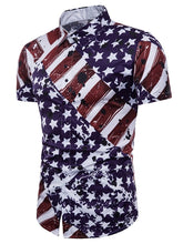 Load image into Gallery viewer, Turn-down Collar Hidden Button American Flag Print Short Sleeved Shirt 4120