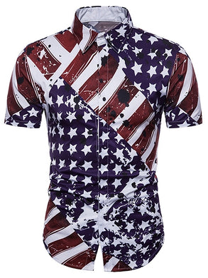 Turn-down Collar Hidden Button American Flag Print Short Sleeved Shirt 4120