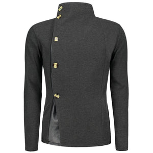Single Breasted Snake Skin Leather Panel Men Jacket 5800