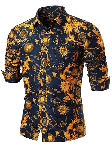 Turndown Collar Flower Chain Print Long Sleeve Men Shirt 4872