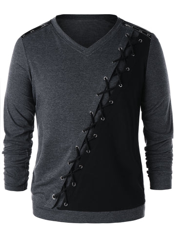 Color Block Criss Cross Zipper Shoulder Long Sleeve Men T-shirt 8220