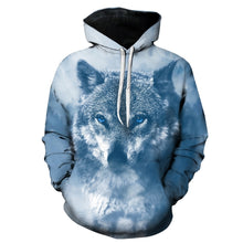 Load image into Gallery viewer, 3D Wolf Print Long Sleeved Men Hooded Pullover 3594