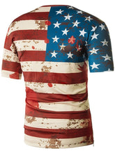 Load image into Gallery viewer, Stretchy Flag Scrawl Print Zipper Hem Short Sleeved T-shirt 9168