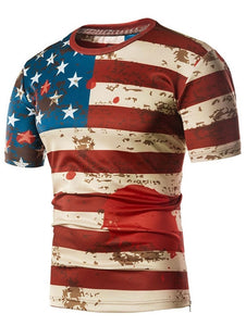 Stretchy Flag Scrawl Print Zipper Hem Short Sleeved T-shirt 9168
