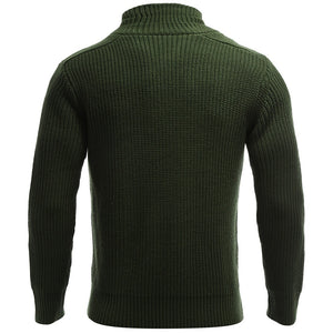 Stand Collar Flat Knitted Pullover Toggle Sweater for Men 7767