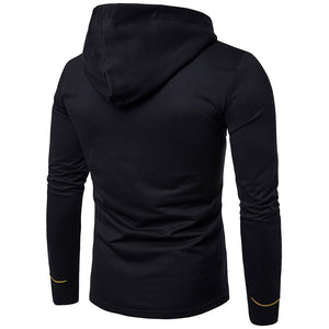 Embroidered Print Long Sleeve Oblique Buttons Design Men Hoodies 1560