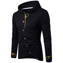 Load image into Gallery viewer, Embroidered Print Long Sleeve Oblique Buttons Design Men Hoodies 1560
