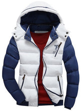Load image into Gallery viewer, Padded Color Block Puffer Jacket with Detachable Hood for Men 1600