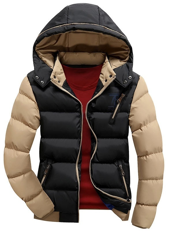 Padded Color Block Puffer Jacket with Detachable Hood for Men 1600