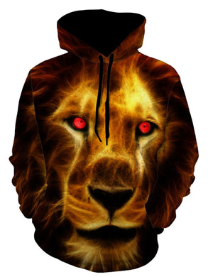3D Lion Face Print Long Sleeve Drawstring Hoodie 4309