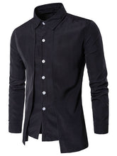 Load image into Gallery viewer, Turndown Collar Long Sleeve False Two-piece Men Shirt 7516