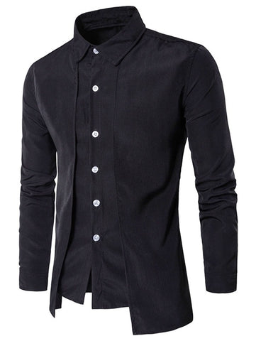 Turndown Collar Long Sleeve False Two-piece Men Shirt 7516