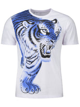Load image into Gallery viewer, Tiger Print Round Neck Short Sleeve T-shirt 3522