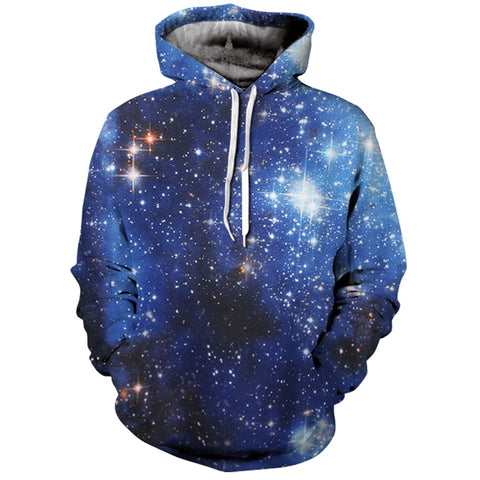 3D Stars Galaxy Print Men Hoodie with Kangaroo Pocket 6738