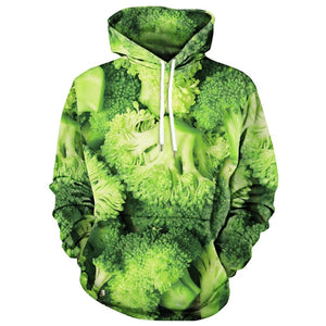 Green Broccoli Print Drawstring Neck Men Hoodie 9562