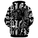 Roaring Tiger Print Kangaroo Pocket Men Hoodie 4526