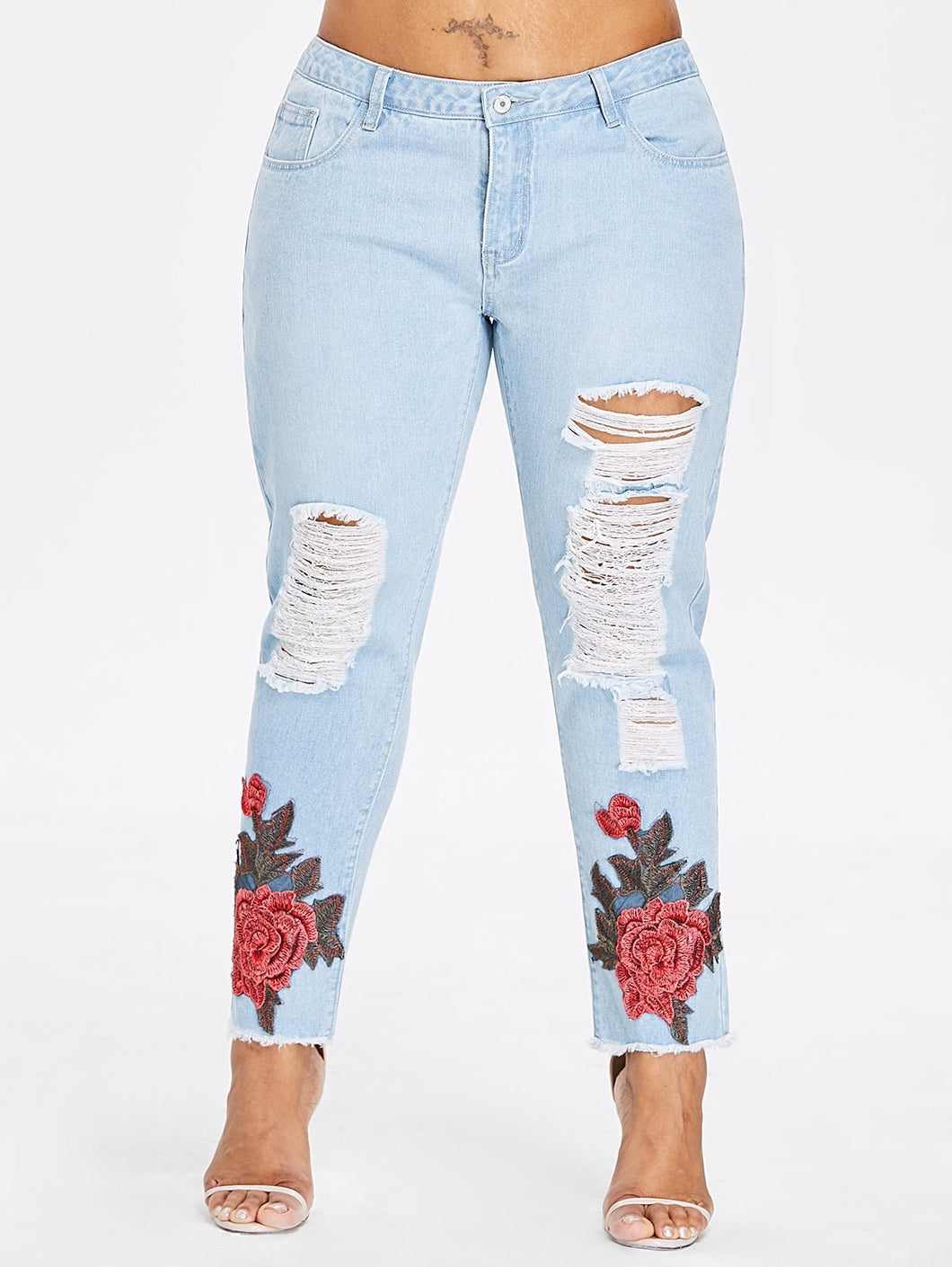 Floral Embroidery Applique Women Jeans 5273