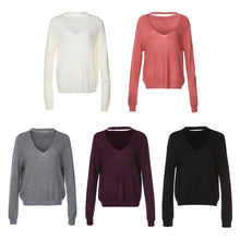 Load image into Gallery viewer, Plinging Neck Knitwear Fluffy Long Sleeves Women Sweaters 5031