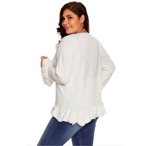 Deep V Neck Button Long Sleeve Flouncing Hem Women Knit Cardigan 2857